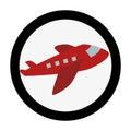 Circular emblem with cargo airplane