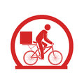 Circular emblem with delivery man in bike