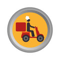 Circular emblem with delivery man in scooter