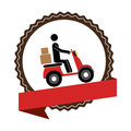 Circular emblem with ribbon and delivery man in scooter