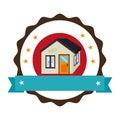 Circular emblem with ribbon and house