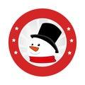 Circular emblem with snowman face