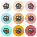 Circular eyeshadow palettes vector flat icon set