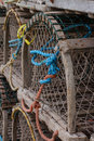 Circular fish traps a group of lobster or crab sit on a wharf harbours edge Royalty Free Stock Image