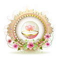 Circular floral frame Royalty Free Stock Photography