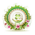 Circular floral frame with clover Royalty Free Stock Photo