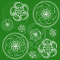 Circular floral green background tissue or scrapbooking Royalty Free Stock Photos