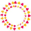 Circular frame border made of hearts isolated Stock Images