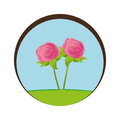 Circular frame landscape with roses