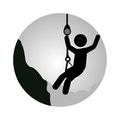 Circular frame with man climbing a rope