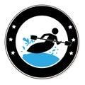 Circular frame with man in kayak