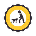 Circular frame with pictogram with man and wheelbarrow