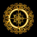Circular Gold Filigree over black background Royalty Free Stock Image