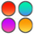 Circular, gradient buttons with a metallic outline. Shiny design. Four variations Royalty Free Stock Photo