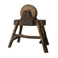 Circular grindstone on  serious wooden stand . Very vintage work tool. Royalty Free Stock Photo