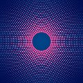 Abstract Circular Pink Halftone Dots Pattern in Dark Blue Background
