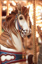 Circular horse carousel close up Royalty Free Stock Photo