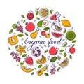 stock image of  Circular illustration with fruit and text for shop, printing, website design.