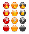 Circular internet security icon set Royalty Free Stock Photo