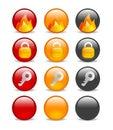 Circular internet security icon set Royalty Free Stock Photo