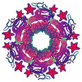 Circular ornament with octopus, starfish and coral reef in Art Nouveau style Royalty Free Stock Photo