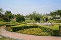 Circular path around verdant fountain in sunny summer pavement chengdu china Royalty Free Stock Image