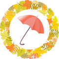 Circular pattern of autumn leaves and umbrella vector illustration Royalty Free Stock Images