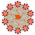 Circular pattern with birds and flowers for design clothes dishes other purposes illustratoin Stock Images