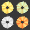 Circular saw discs isolated on dark background Royalty Free Stock Photo