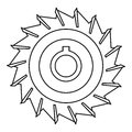 Circular saw disk icon, outline style