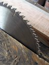 Circular saw slitting blade with the teeth close up Stock Photo