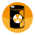 Circular shape with barrels with radioactive materials
