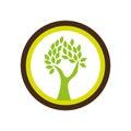 Circular shape emblem with abstract tree