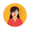 Circular shape with half body woman with glasses