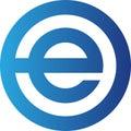 Abstract Letter e Logo. Blue color Circular Shape Logo
