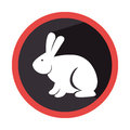 Circular shape with silhouette rabbit with long ears