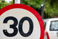 Circular speed limit sign Royalty Free Stock Photo