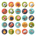 Circular sports icons flat design vector set. Royalty Free Stock Photo
