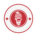 Circular stamp with light bulb icon and stars decorative