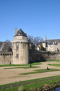 Circular stone tower walls vannes city blue sky Stock Photos