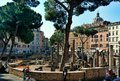 Circular temple columns. Remains of Pompeys Theatre. Ancient Campus Martius. Rome, Italy Royalty Free Stock Photo