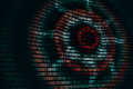 Circular waves on abstract digital wall in cyberspace, binary technology background