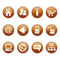 Circular, white on orange web UI icon set. 12 icons. Isolated on white Royalty Free Stock Photo