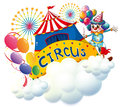 A circus above the clouds illustration of on white background Stock Photos