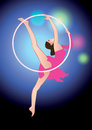 Circus acrobat girl flying on the edge of the hoop Stock Image