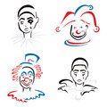 Circus artists jester pierrot and clown on illustration Stock Images