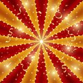 Circus background of red and gold lines stripe with star constellations, light bulbs and tinsel. Retro sun beam ray template for