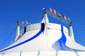 Circus big top tent in blue and white Royalty Free Stock Image