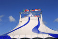 Circus big top tent exterior of blue and white Royalty Free Stock Photos