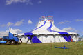 Circus big top tent and truck blue and white Stock Image